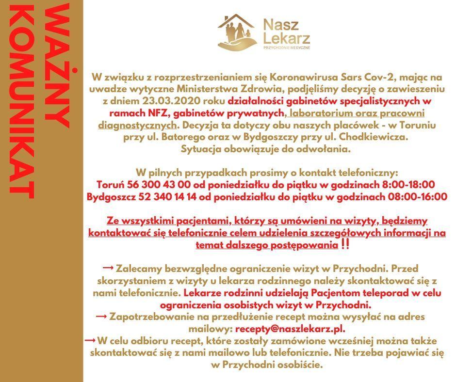POPUP zmiana godzin otwarcia 20.03.2020