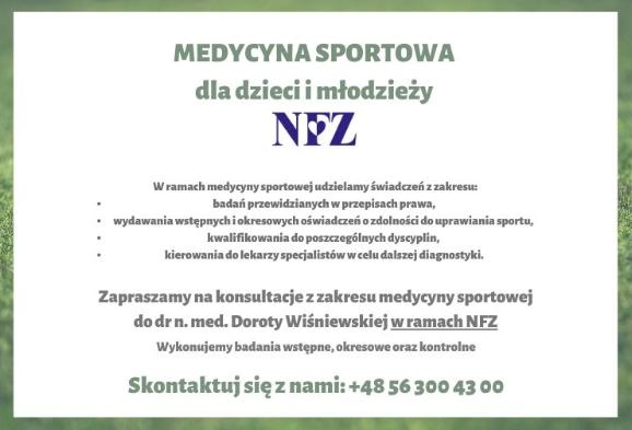 Medycyna Sportowa - teraz dostępna na NFZ