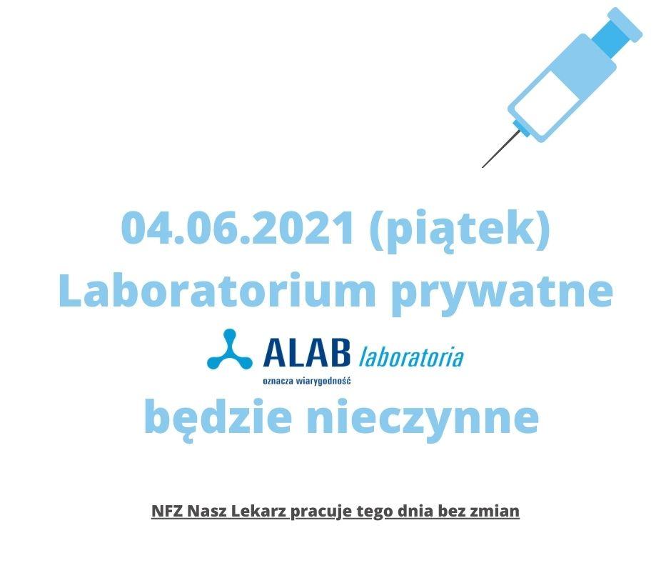 04.06.2021 Laboratorium ALAB nieczynne